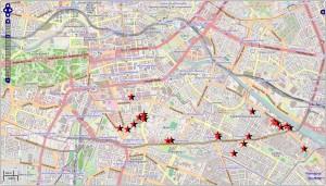 Karte mit den Standorten der 23 verschenkten Häuser